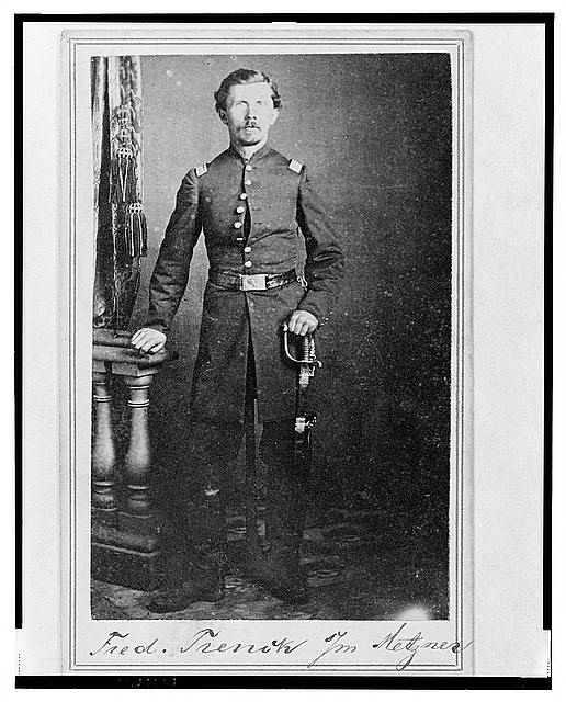 "[Captain Frederick ""Ned"" Trenk (Trenck), Union officer in the 32nd Indiana Regiment, full-length portrait, standing, facing front]"
