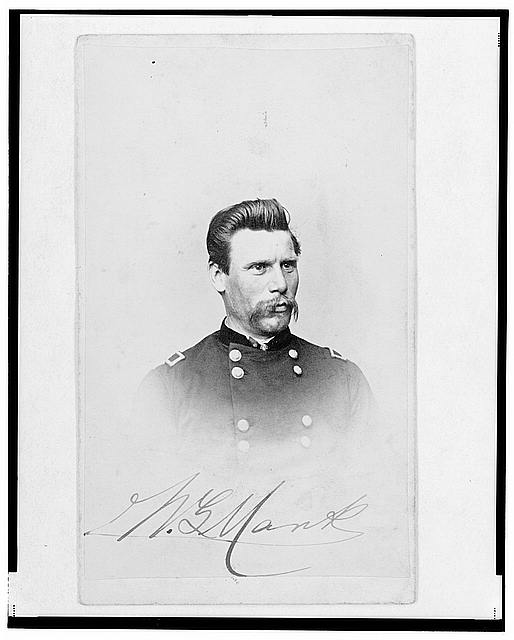 [Major William G. Mank, Union officer in the 32nd Indiana Regiment, head-and-shoulders portrait, facing front]