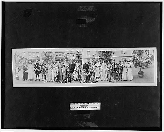[Carnival queen Miss Helene Richards (center) with John Barrett (left), Director General of the Pan American Union; California State Senator Lee Gates (right) and her attendants, San Diego, California]