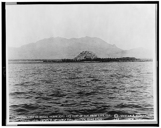 General view of Mount Varak, city and fort of Van from Lake Van