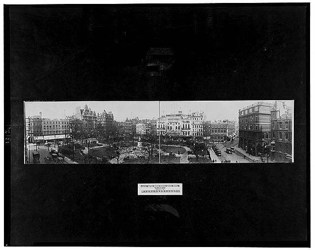 [Panoramic view of Leicester Sq., London]