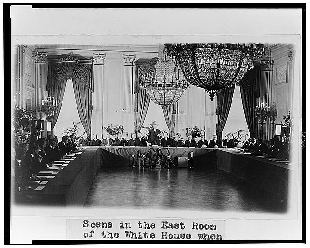 Scene in the East Room of the White House when the President received representatives of the Nations who have ratified the Treaty for the Renunciation of War