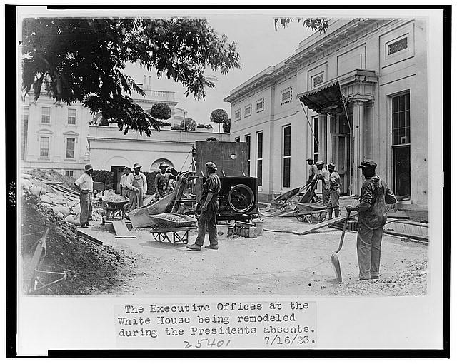 The executive offices at the White House being remodeled during the President's absents [sic]