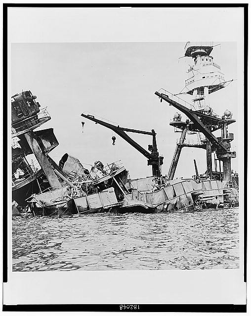 Wreckage of USS Arizona, Pearl Harbor, Hawaii, December 7, 1941