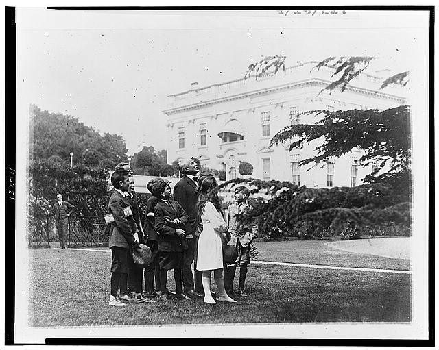 Pointing out an owls nest in the White House grounds to members of the nature study class of John Buroughs [sic] School whom he invited to the White House