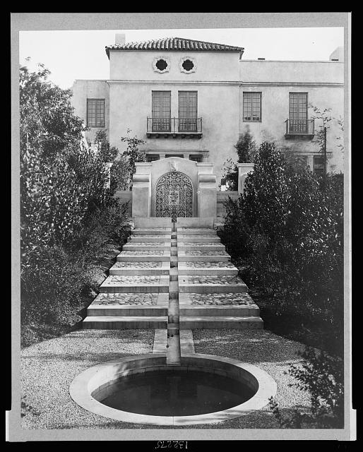 Pasadena, California, Mrs. Herbert Coppell home - pond at foot of long stairway leading up to entrance gate [i.e. water rill]