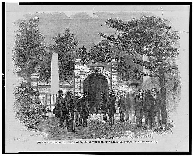His Royal Highness the Prince of Wales at the tomb of Washington, October 1860