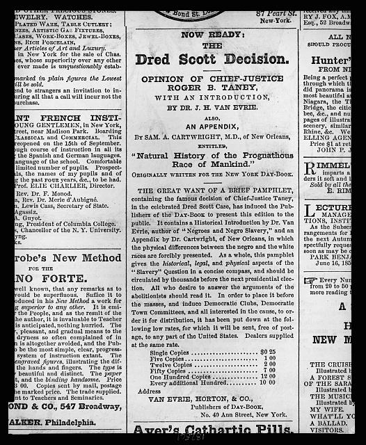 Now ready: the Dred Scott decision--Opinion of Chief-Justice Roger B. Taney ...