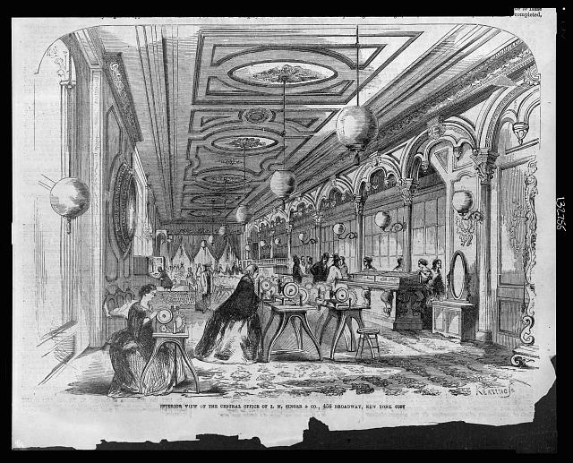 Interior view of the central office of I.M. Singer & Co., 458 Broadway, New York City