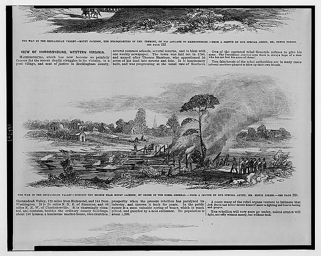 The war in the Shenandoah Valley - burning the bridge near Mount Jackson, by order of the Rebel General