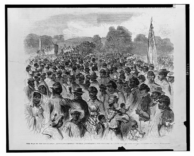 The war in the southwest - Adjutant-General Thomas addressing the Negroes in Louisiana on the duties of freedom