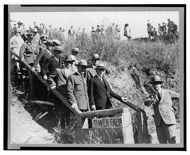 President Coolidge and party on Tower Fall steps, Yellowstone National Park