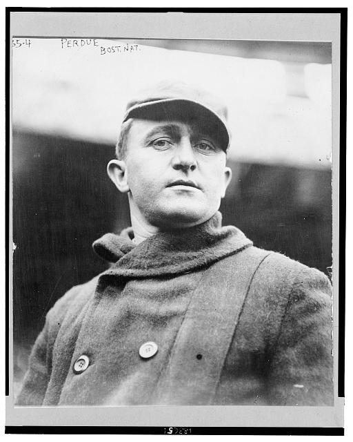 "[Hubbard, i.e., Herbert Rodney ""Hub"", Perdue, Boston Braves baseball player, head-and-shoulders portrait, facing front, wearing coat and hat]"