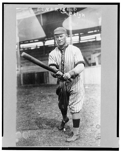 "[Norman ""Kid"" Elberfeld, a player for the Brooklyn Dodgers, full-length portrait, swinging his bat]"