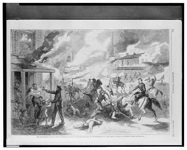 The destruction of the city of Lawrence, Kansas, and the massacre of its inhabitants by the Rebel guerrillas, August 21, 1863