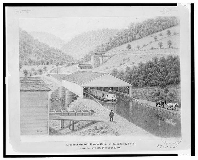 Aquaduct [sic] on old Penn'a Canal at Johnstown, 1845