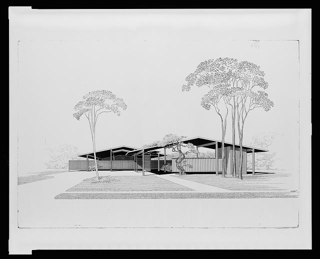 [House for Bourne and Company, St. Petersburg, Florida (project). Perspective rendering]