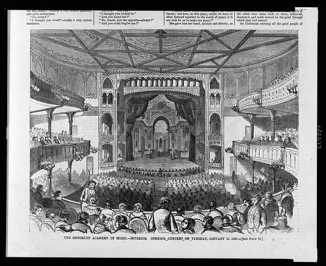 The Brooklyn Academy of Music - interior - opening concert on Tuesday, January 15, 1861