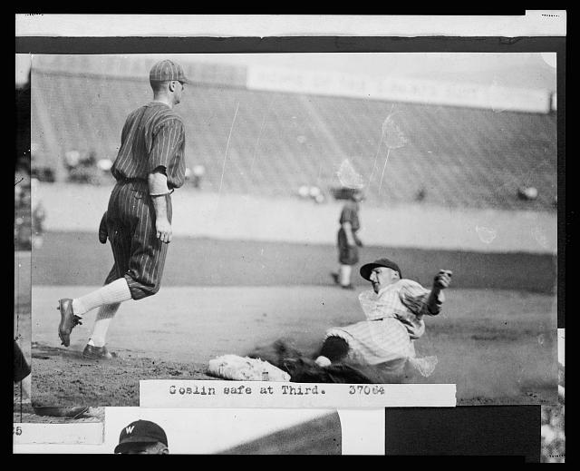 "[Leon A. ""Goose"" Goslin, of the Washington Nationals, sliding safely into 3rd base during baseball game between Washington and the Chicago White Sox]"