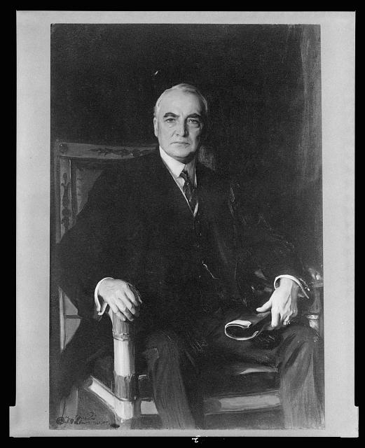 [Warren G. Harding, three-quarter length portrait, sitting in chair, facing front]