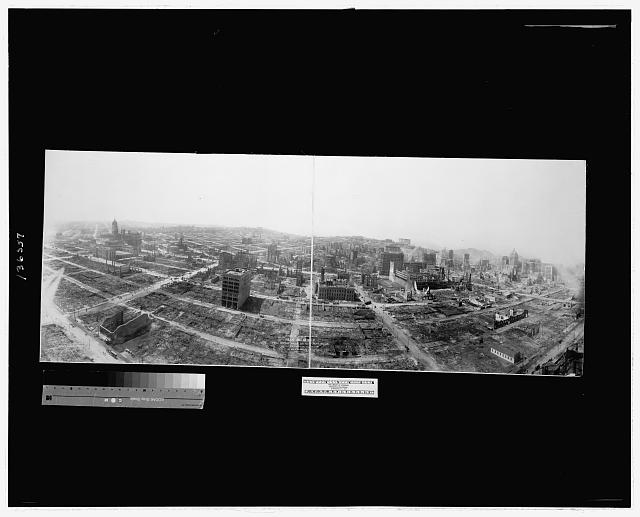 Bird's-eye-view of ruins of San Francisco from captive airship, 600 feet above Folsom between Fifth and Sixth Sts.