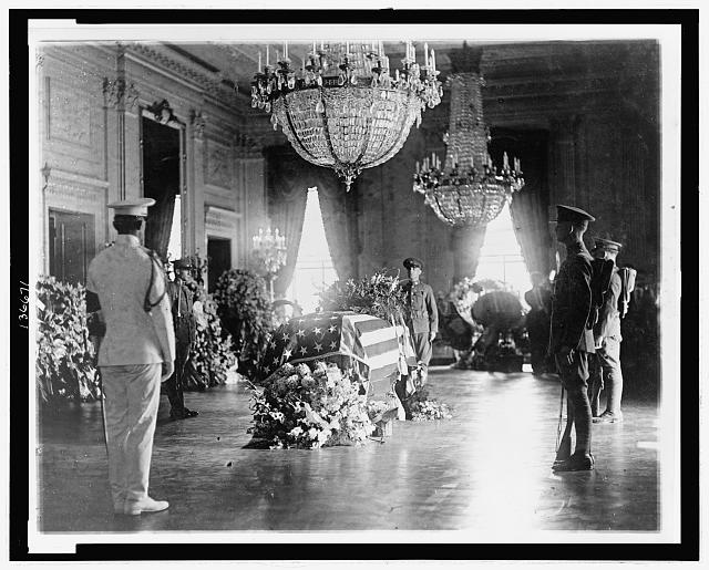 [President Warren G. Harding's body lying in state in the  East Room of the White House]