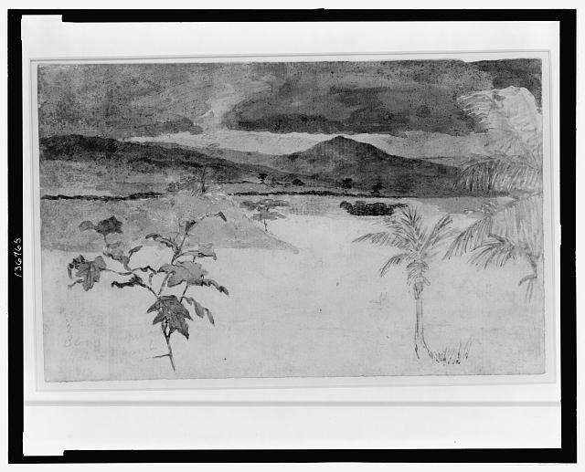[Landscape with storm in distance]
