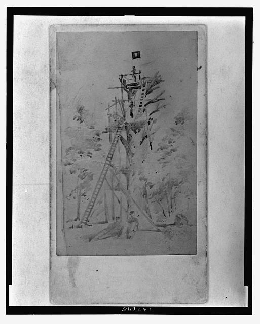 [Sketch of U.S. Army Signal Corps observation and signal tower]