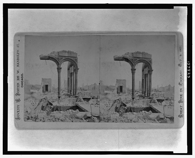 Among the ruins in Chicago, no. 18 Fifth National Bank, N.E. cor. Clark & Washington Sts. looking east /