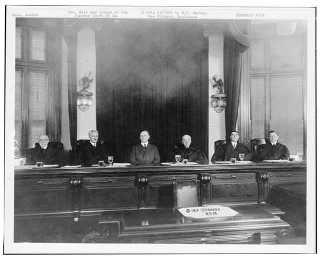 Gov. Hall and judges of the Supreme Court of La.