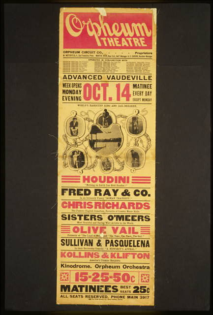 "Houdini, nothing on earth can hold Houdini! Fred Ray & Co. in an intensely funny ""Roman travesty"" ...."