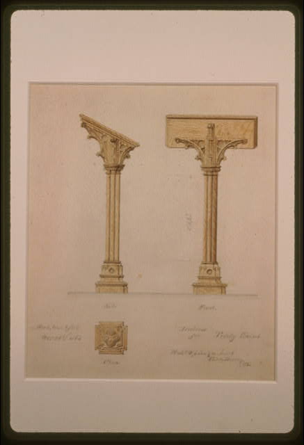 [Trinity Chapel (New York). Lectern. Elevations and plan]