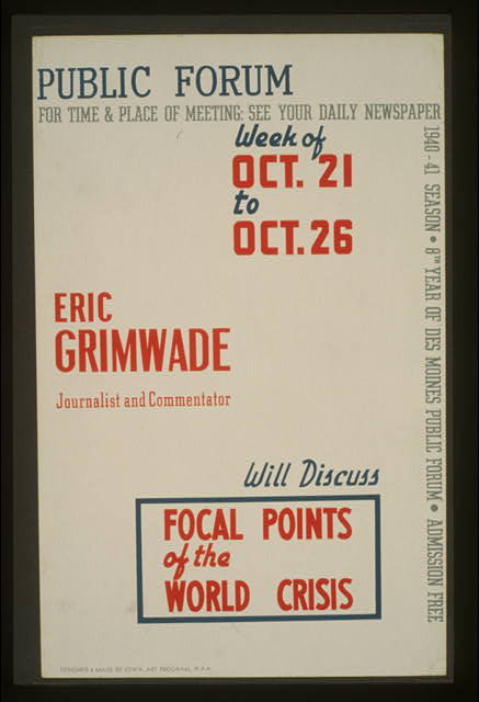 Public forum - Eric Grimwade, journalist and commentator, will discuss focal points of the world crisis