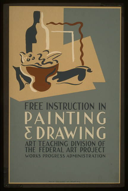 Free instruction in painting & drawing Art Teaching Division of the Federal Art Project, Works Progress Administration.