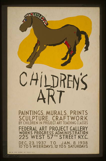 Children's art Paintings, murals, prints, sculpture, craftwork by children in Project art teaching classes.