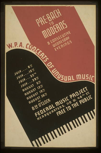 W.P.A. concerts of unusual music Pre-Bach to moderns : 8 consecutive wednesday evenings.