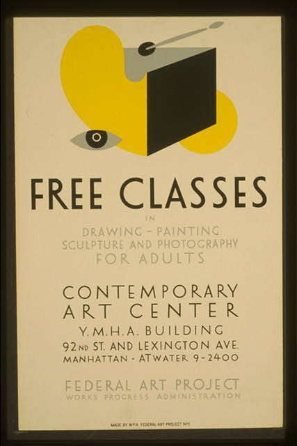 Free classes in drawing, painting, sculpture and photography for adults
