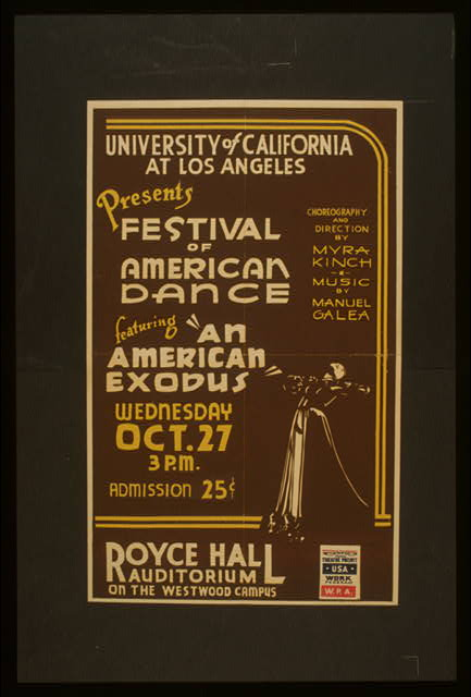 "University of California at Los Angeles presents festival of American dance featuring ""An American exodus"""