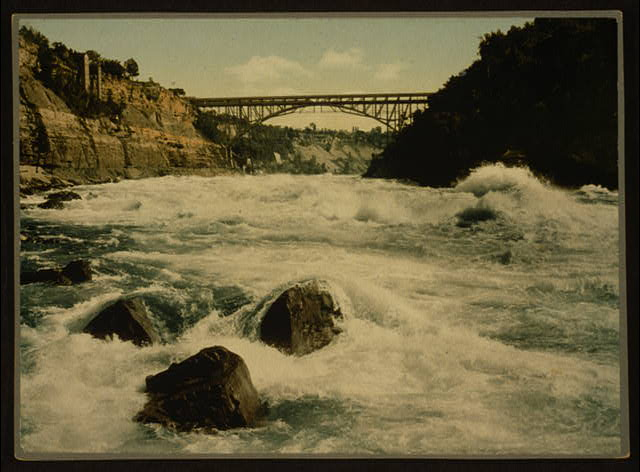 [Whirlpool Rapids and Lower Steel Arch Bridge, Niagara Falls, New York]