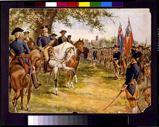 [Washington taking command of the American army under the old elm at Cambridge]