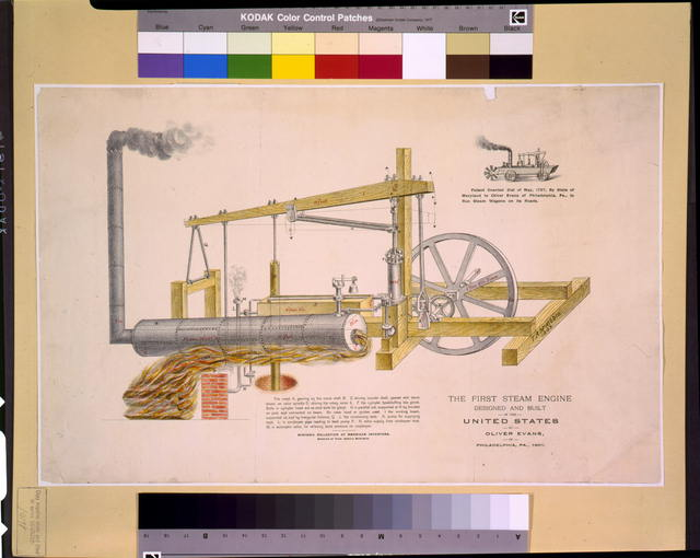 The first steam engine designed and built in the United States, by Oliver Evans, of Philadelphia, Pa., 1801