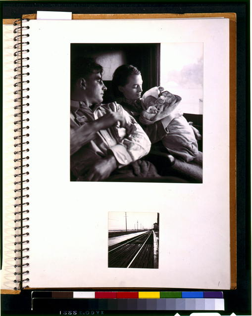 [Two scenes of rural rehabilitation: Young couple with baby in railroad passenger car during journey from Minnesota to San Francisco, and railroad tracks outside of train station]