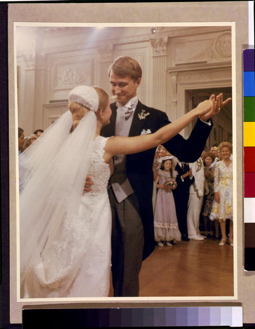 Mr. and Mrs. Edward Cox dancing in the East Room of the White House [on her wedding day]