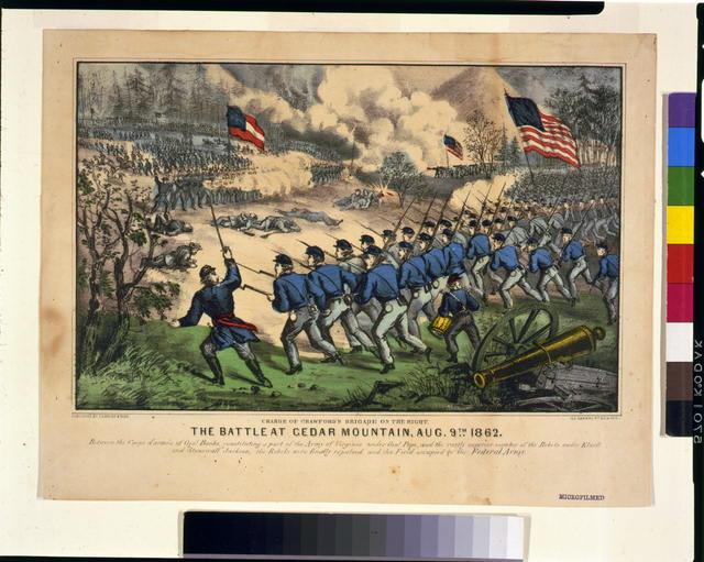 The battle at Cedar Mountain, Aug. 9th, 1862 Charge of Crawford's Brigade on the right.