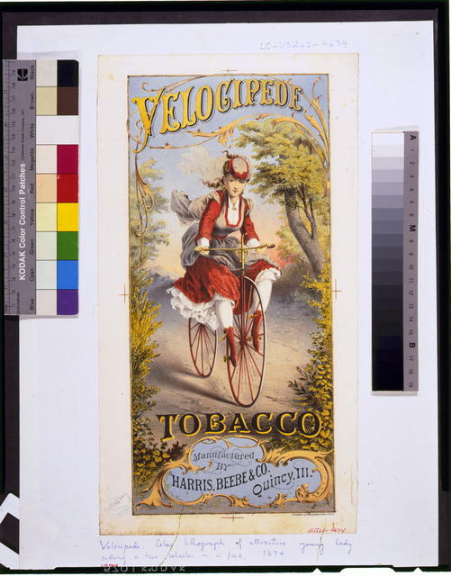 Velocipede tobacco--Manufactured by Harris, Beebe & Co. Qunicy, Ill.