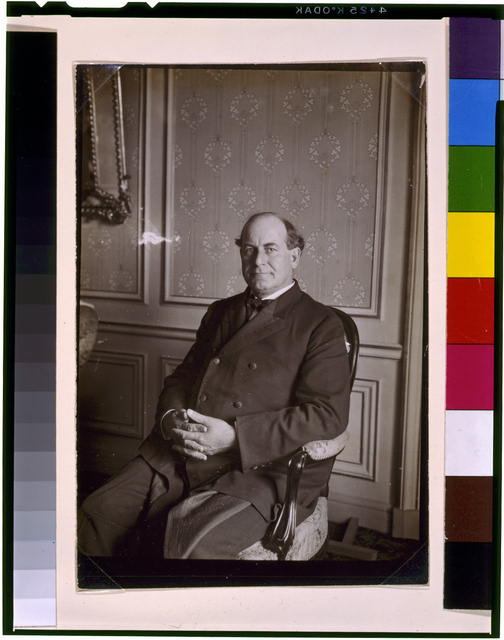 [Three portraits of William Jennings Bryan at the Grand Hotel, Paris, all three-quarter length: 1) seated, facing front; 2) seated, facing left; and 3) standing, facing front]