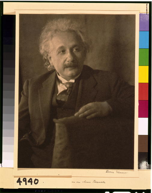 [Albert Einstein, half-length portrait, seated, facing right]