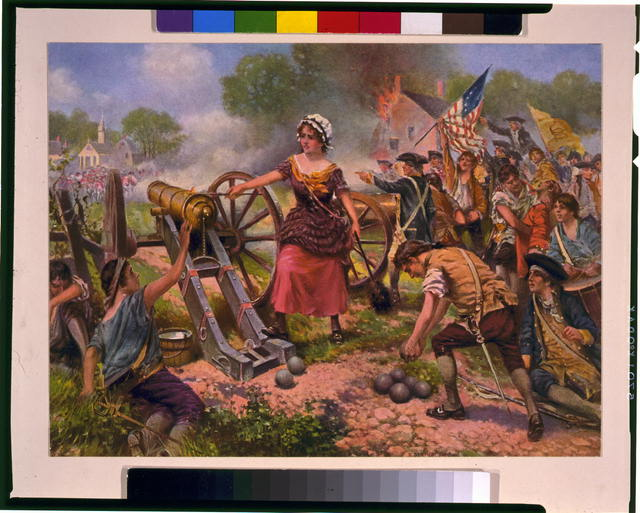[Molly Pitcher firing cannon at Battle of Monmouth]