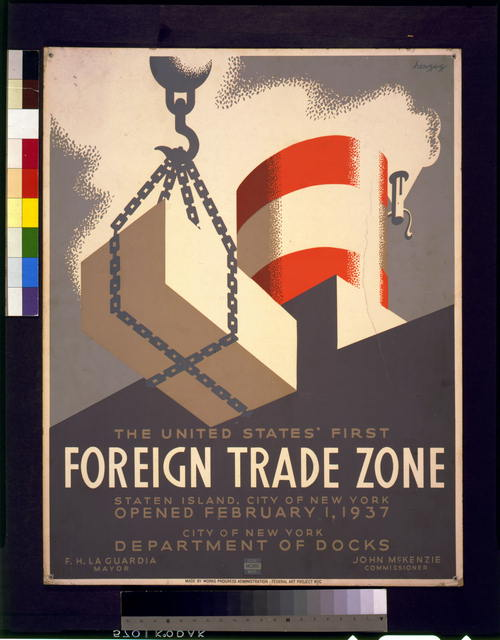 The United States' first foreign trade zone, Staten Island, city of New York, opened February 1, 1937