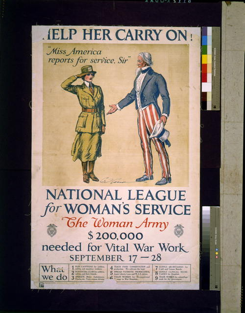 Help her carry on! National League for Women's Service
